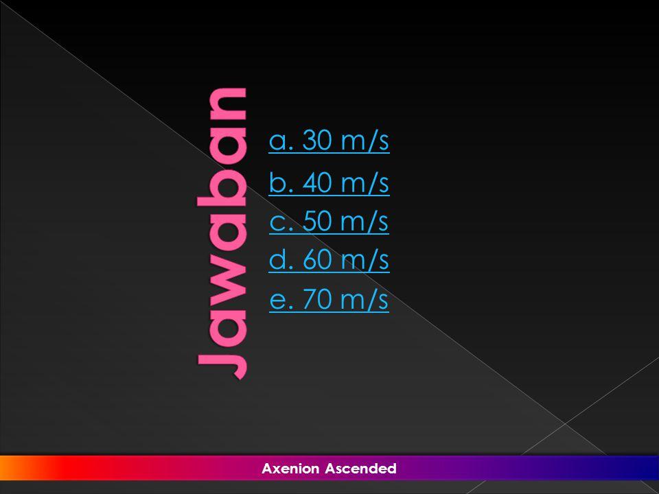 a. 30 m/s b. 40 m/s e. 70 m/s d. 60 m/s c. 50 m/s Axenion Ascended Axenion Ascended