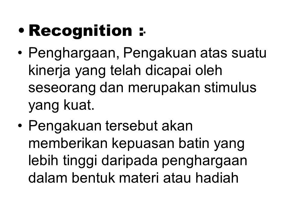 Recognition : Penghargaan, Pengakuan atas suatu kinerja yang telah dicapai oleh seseorang dan merupakan stimulus yang kuat.