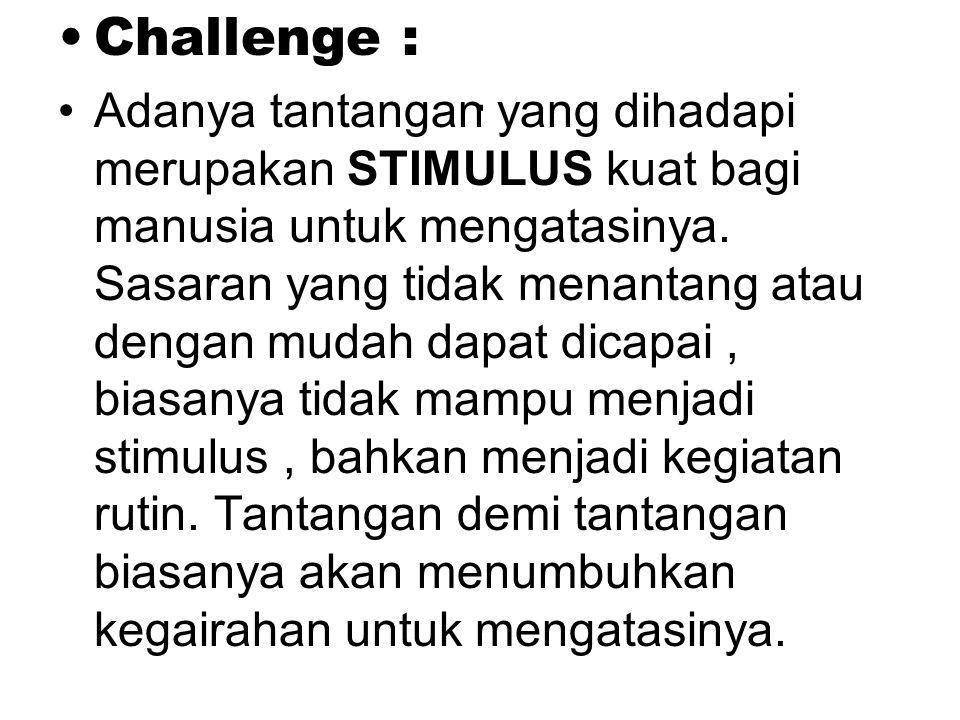 Challenge : Adanya tantangan yang dihadapi merupakan STIMULUS kuat bagi manusia untuk mengatasinya.