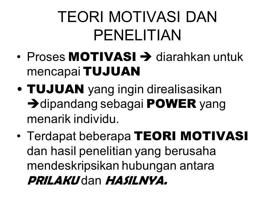 TEORI MOTIVASI DAN PENELITIAN Proses MOTIVASI  diarahkan untuk mencapai TUJUAN TUJUAN yang ingin direalisasikan  dipandang sebagai POWER yang menarik individu.