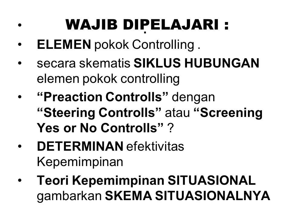 WAJIB DIPELAJARI : ELEMEN pokok Controlling.