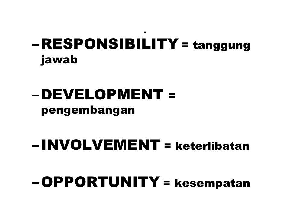 . –RESPONSIBILITY = tanggung jawab –DEVELOPMENT = pengembangan –INVOLVEMENT = keterlibatan –OPPORTUNITY = kesempatan