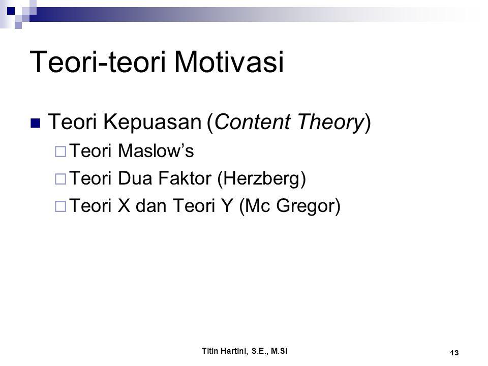 Titin Hartini, S.E., M.Si 13 Teori-teori Motivasi Teori Kepuasan (Content Theory)  Teori Maslow's  Teori Dua Faktor (Herzberg)  Teori X dan Teori Y (Mc Gregor)