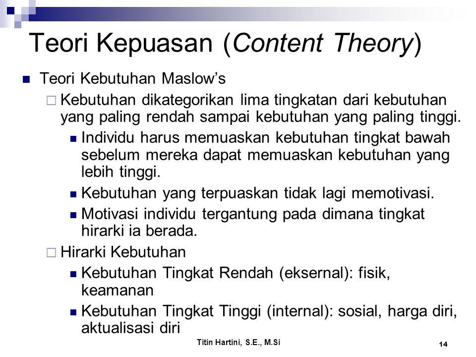Titin Hartini, S.E., M.Si 14 Teori Kepuasan (Content Theory) Teori Kebutuhan Maslow's  Kebutuhan dikategorikan lima tingkatan dari kebutuhan yang paling rendah sampai kebutuhan yang paling tinggi.