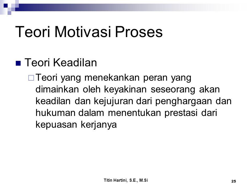 Titin Hartini, S.E., M.Si 25 Teori Motivasi Proses Teori Keadilan  Teori yang menekankan peran yang dimainkan oleh keyakinan seseorang akan keadilan