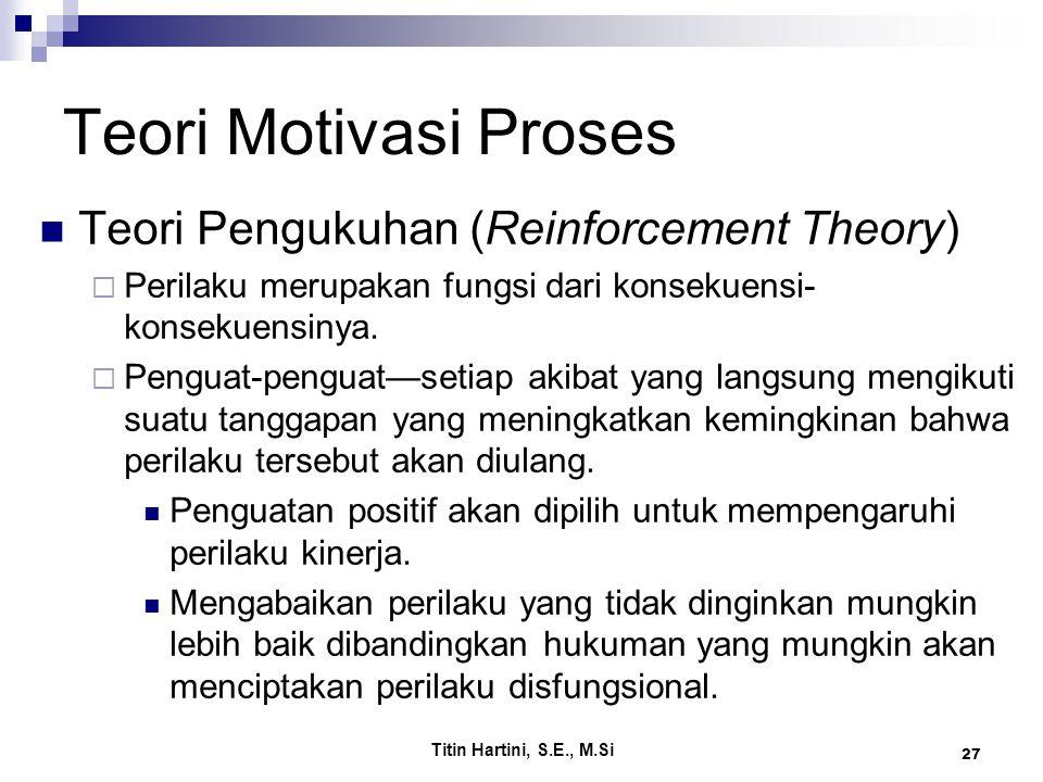 Titin Hartini, S.E., M.Si 27 Teori Motivasi Proses Teori Pengukuhan (Reinforcement Theory)  Perilaku merupakan fungsi dari konsekuensi- konsekuensiny