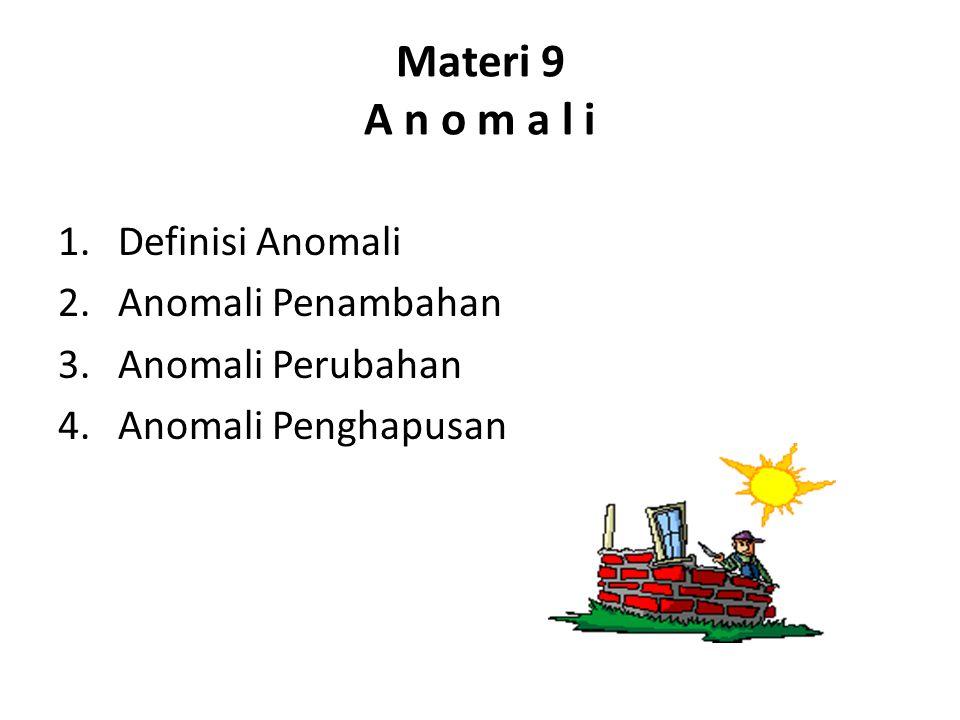 Materi 9 A n o m a l i 1.Definisi Anomali 2.Anomali Penambahan 3.Anomali Perubahan 4.Anomali Penghapusan
