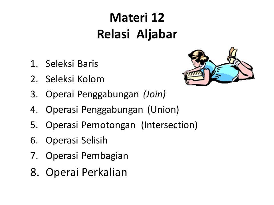 Materi 13 Struktur Query Language (SQL) 1.Pengertian SQL 2.SQL Dasar 3.Ambiquity 4.Clausa Where 5.Pemakaian '*' 6.Distinc