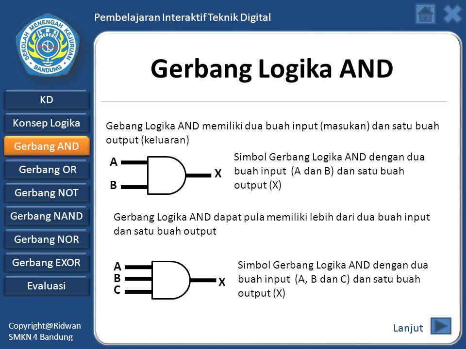 Pembelajaran Interaktif Teknik Digital KD Konsep Logika Konsep Logika Gerbang AND Gerbang AND Gerbang OR Gerbang NOT Evaluasi Copyright@Ridwan SMKN 4 Bandung Gerbang NAND Gerbang NAND Gerbang NOR Gerbang NOR Gerbang EXOR Gerbang EXOR Gerbang Logika AND Gebang Logika AND memiliki dua buah input (masukan) dan satu buah output (keluaran) Gerbang Logika AND dapat pula memiliki lebih dari dua buah input dan satu buah output A B X A B C X Simbol Gerbang Logika AND dengan dua buah input (A dan B) dan satu buah output (X) Simbol Gerbang Logika AND dengan dua buah input (A, B dan C) dan satu buah output (X) Lanjut Gerbang AND