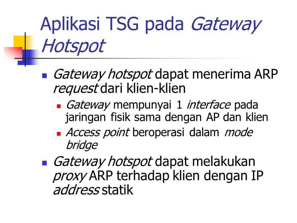 Aplikasi TSG pada Gateway Hotspot Gateway hotspot dapat menerima ARP request dari klien-klien Gateway mempunyai 1 interface pada jaringan fisik sama d