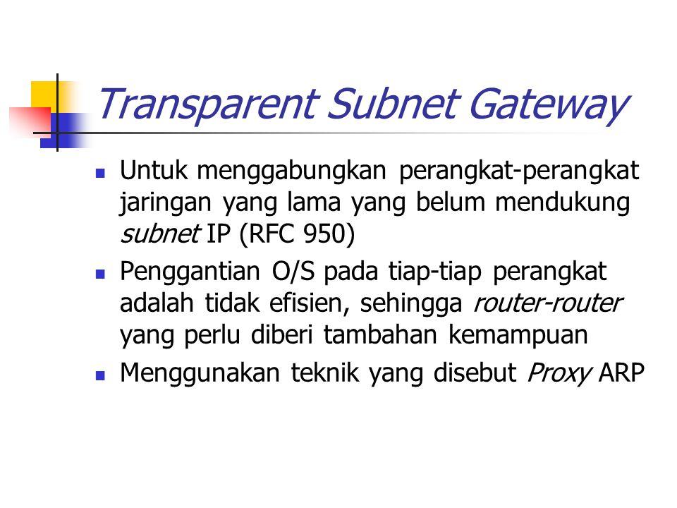 Transparent Subnet Gateway (cont'd) Proses ARP ketika host A akan mengirim ke host B Host A mengirim broadcast ARP request untuk mendapatkan network address host B Host B menerima pesan tersebut dan mengirim ARP reply berisi network addressnya Host A mengetahui network address host B sehingga dapat melakukan pengiriman, dan network address tsb disimpan pada cache Jika host A dan host B tidak berada pada jaringan fisik yang sama, maka host B tidak dapat menerima ARP request dari host A