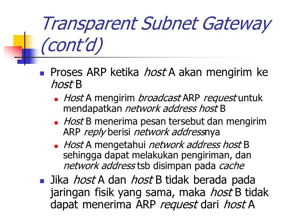 Transparent Subnet Gateway (cont'd) Proses ARP ketika host A akan mengirim ke host B Host A mengirim broadcast ARP request untuk mendapatkan network a
