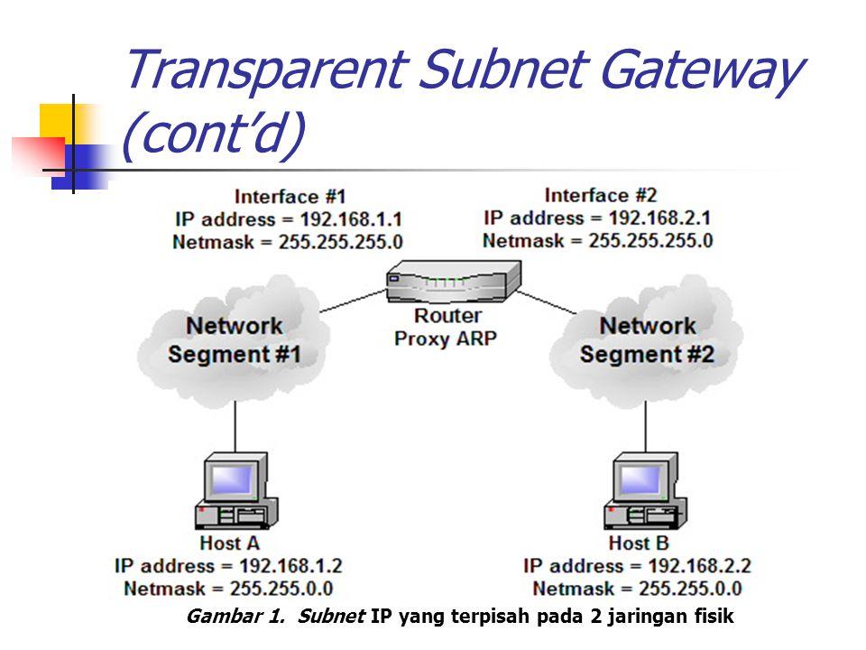 Transparent Subnet Gateway (cont'd) Proses proxy ARP Host A mengirimkan broadcast ARP request untuk mendapatkan network address host B Host B tidak menerima karena beda jaringan fisik Router proxy ARP menerima ARP request host A Router proxy ARP mengecek tabel routing, ternyata dia dapat menjangkau host B Router proxy ARP memberikan ARP reply terhadap host A berisi network address-nya Host A mengirimkan paket kepada router Router melakukan forward paket kepada host B