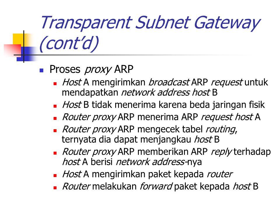 Transparent Subnet Gateway (cont'd) Proses proxy ARP Host A mengirimkan broadcast ARP request untuk mendapatkan network address host B Host B tidak me