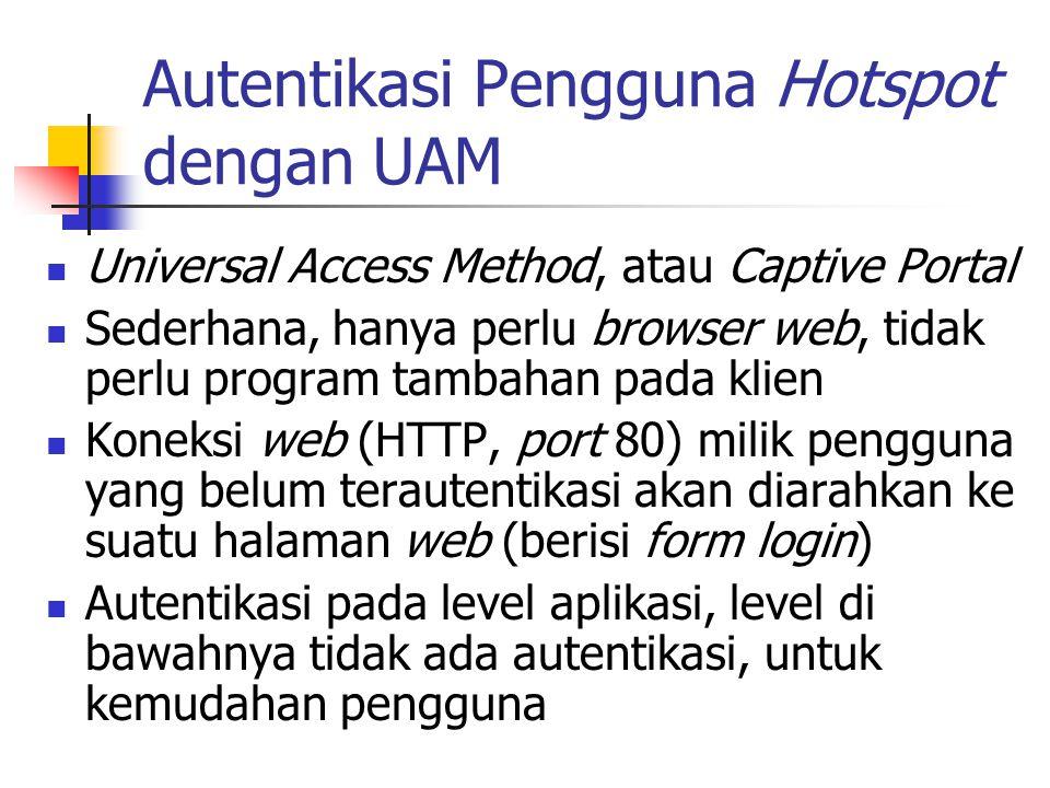 Autentikasi Pengguna Hotspot dengan UAM Universal Access Method, atau Captive Portal Sederhana, hanya perlu browser web, tidak perlu program tambahan