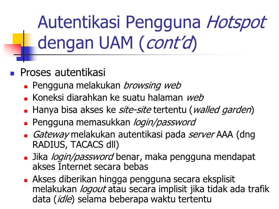 Autentikasi Pengguna Hotspot dengan UAM (cont'd) Proses autentikasi Pengguna melakukan browsing web Koneksi diarahkan ke suatu halaman web Hanya bisa