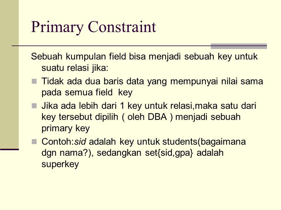Primary Constraint Sebuah kumpulan field bisa menjadi sebuah key untuk suatu relasi jika: Tidak ada dua baris data yang mempunyai nilai sama pada semu