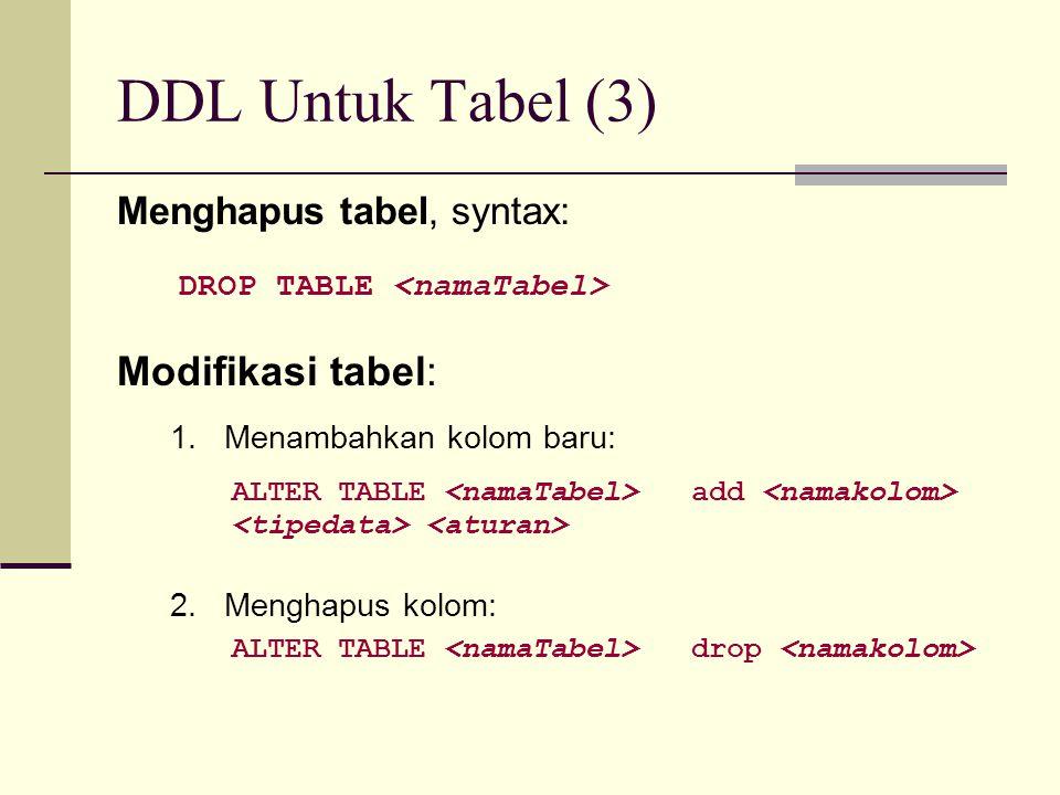 DDL Untuk Tabel (3) Menghapus tabel, syntax: DROP TABLE Modifikasi tabel: 1. Menambahkan kolom baru: ALTER TABLE add 2. Menghapus kolom: ALTER TABLE d