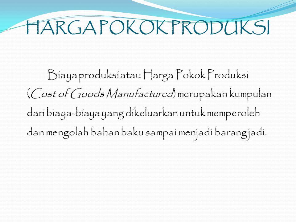 HARGA POKOK PRODUKSI Biaya produksi atau Harga Pokok Produksi (Cost of Goods Manufactured) merupakan kumpulan dari biaya-biaya yang dikeluarkan untuk