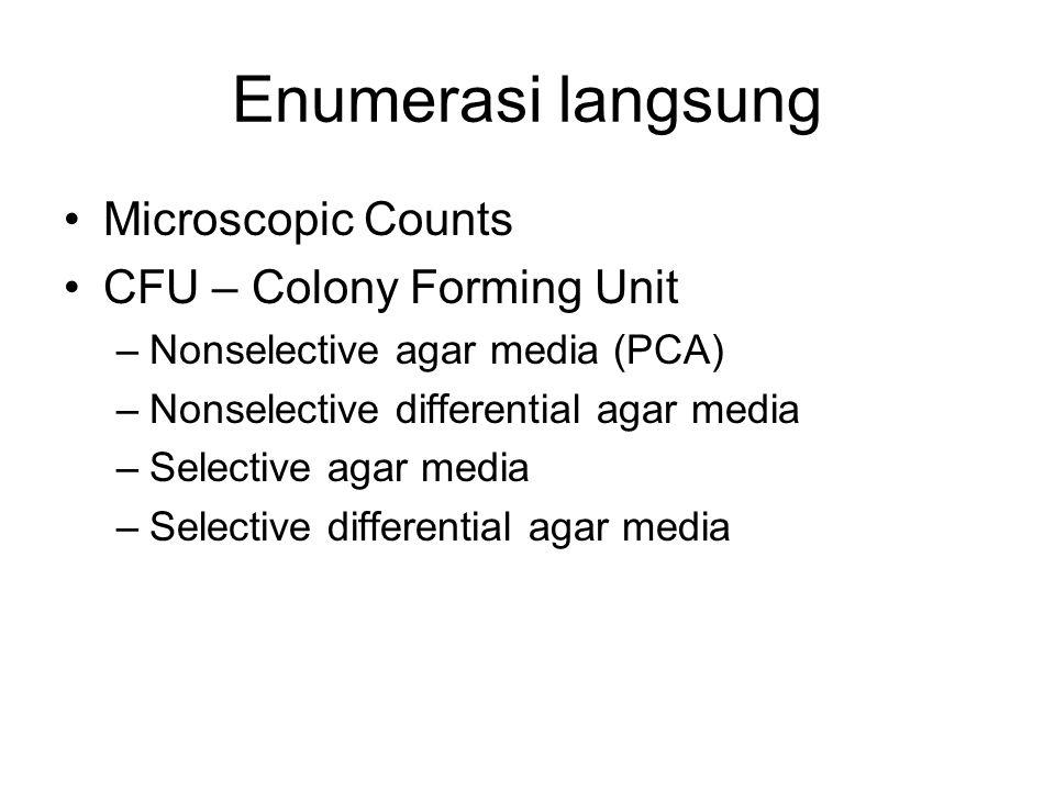 Enumerasi langsung Microscopic Counts CFU – Colony Forming Unit –Nonselective agar media (PCA) –Nonselective differential agar media –Selective agar m