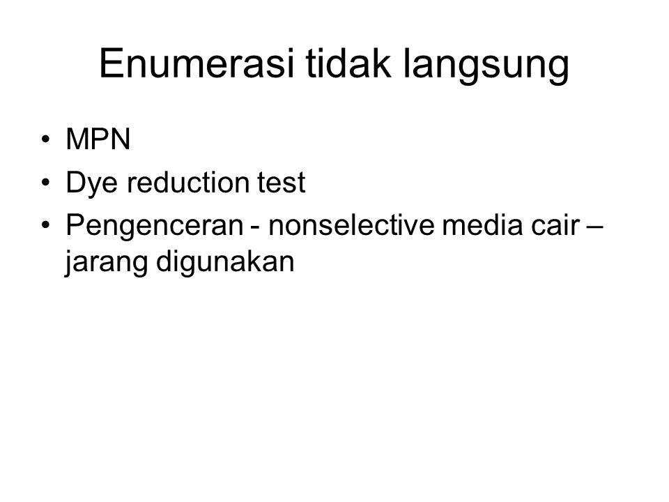Enumerasi tidak langsung MPN Dye reduction test Pengenceran - nonselective media cair – jarang digunakan