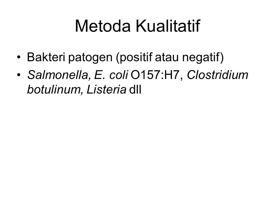 Metoda Kualitatif Bakteri patogen (positif atau negatif) Salmonella, E. coli O157:H7, Clostridium botulinum, Listeria dll