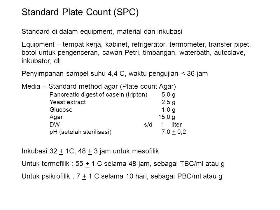 Standard Plate Count (SPC) Standard di dalam equipment, material dan inkubasi Equipment – tempat kerja, kabinet, refrigerator, termometer, transfer pi