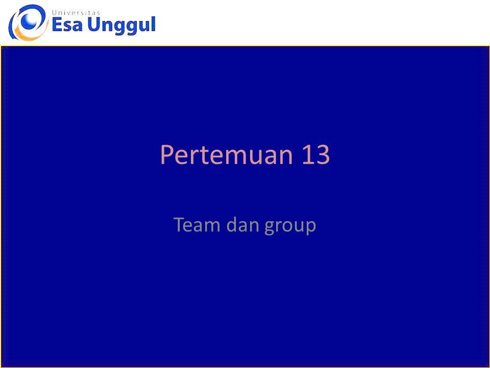 Pertemuan 13 Team dan group