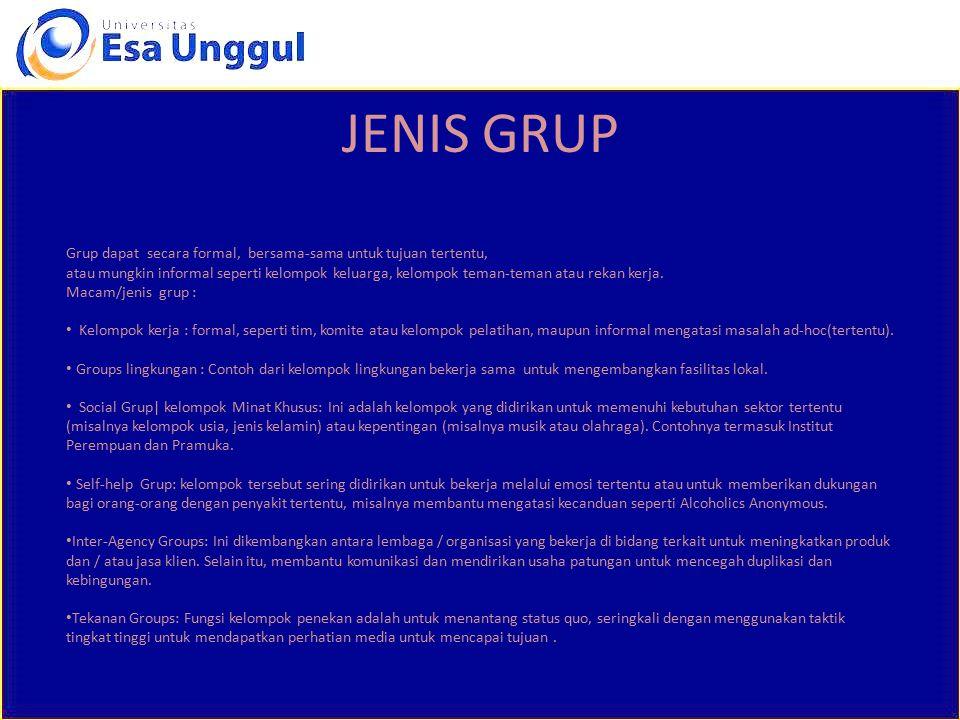 JENIS GRUP Grup dapat secara formal, bersama-sama untuk tujuan tertentu, atau mungkin informal seperti kelompok keluarga, kelompok teman-teman atau re