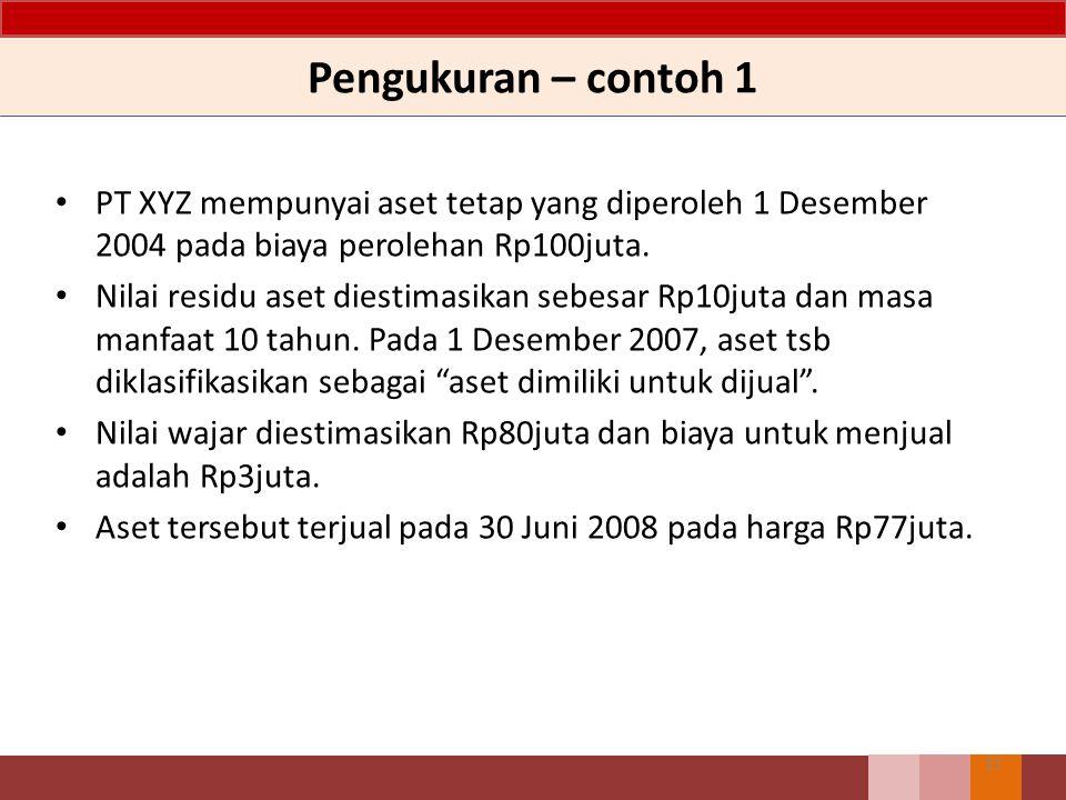 Pengukuran – contoh 1 11 PT XYZ mempunyai aset tetap yang diperoleh 1 Desember 2004 pada biaya perolehan Rp100juta.