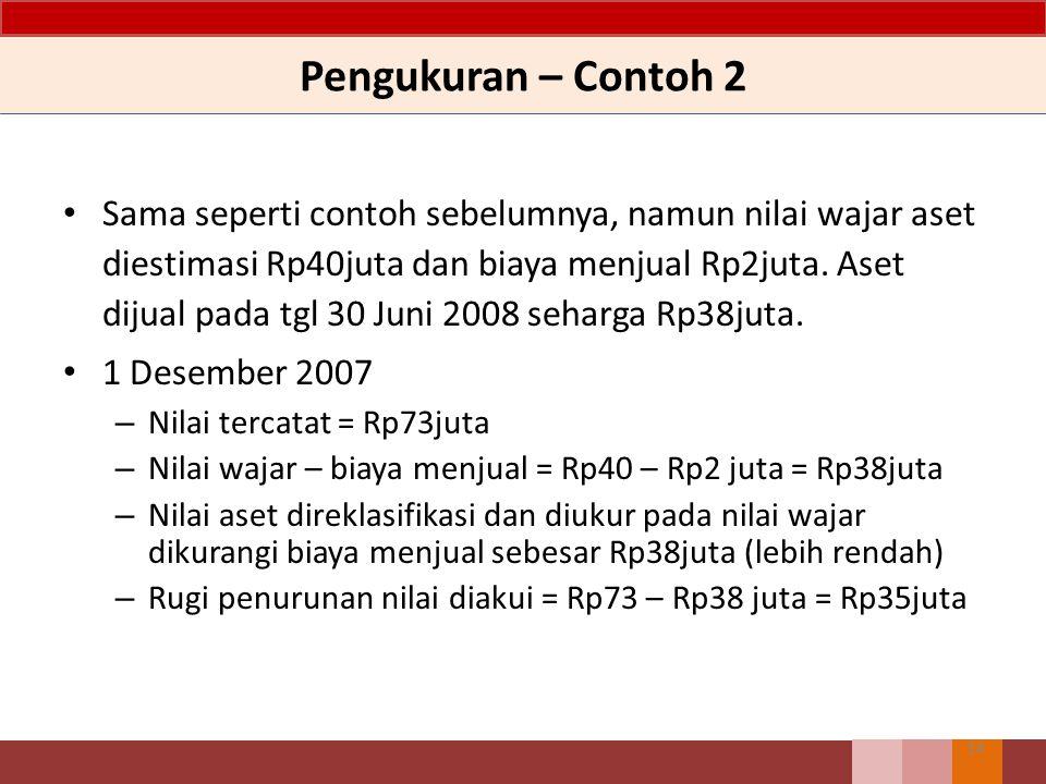 Pengukuran – Contoh 2 14 Sama seperti contoh sebelumnya, namun nilai wajar aset diestimasi Rp40juta dan biaya menjual Rp2juta.