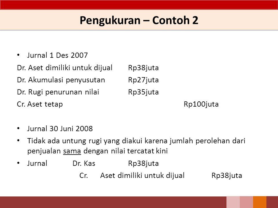 Pengukuran – Contoh 2 Jurnal 1 Des 2007 Dr.Aset dimiliki untuk dijualRp38juta Dr.