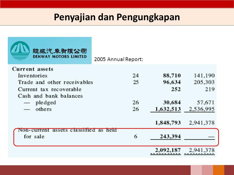 23 2005 Annual Report: Penyajian dan Pengungkapan