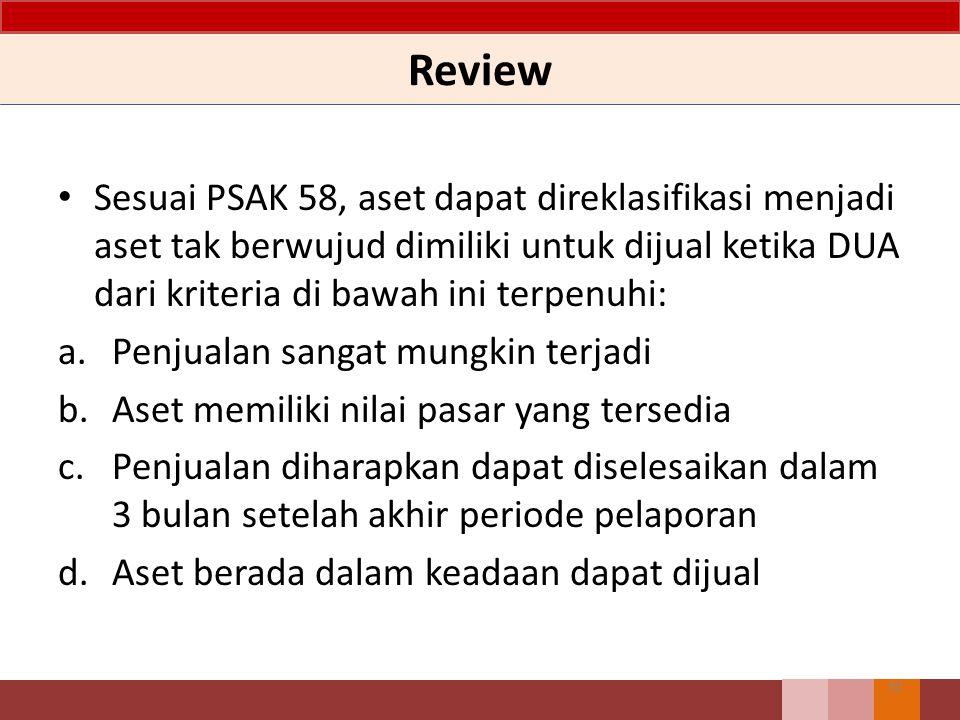 Review 30 Sesuai PSAK 58, aset dapat direklasifikasi menjadi aset tak berwujud dimiliki untuk dijual ketika DUA dari kriteria di bawah ini terpenuhi: a.Penjualan sangat mungkin terjadi b.Aset memiliki nilai pasar yang tersedia c.Penjualan diharapkan dapat diselesaikan dalam 3 bulan setelah akhir periode pelaporan d.Aset berada dalam keadaan dapat dijual