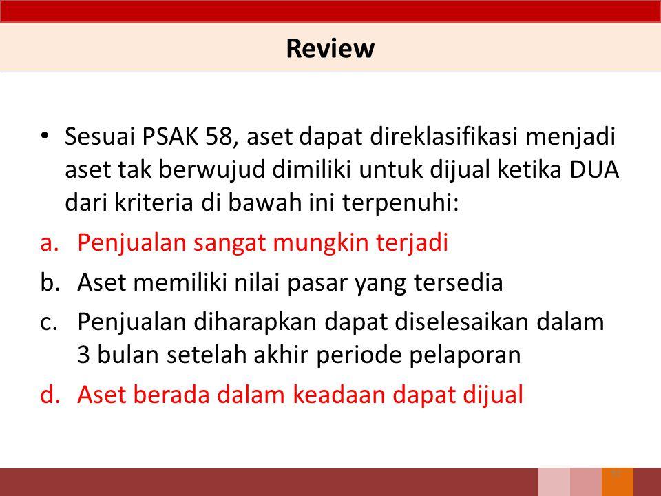31 Sesuai PSAK 58, aset dapat direklasifikasi menjadi aset tak berwujud dimiliki untuk dijual ketika DUA dari kriteria di bawah ini terpenuhi: a.Penjualan sangat mungkin terjadi b.Aset memiliki nilai pasar yang tersedia c.Penjualan diharapkan dapat diselesaikan dalam 3 bulan setelah akhir periode pelaporan d.Aset berada dalam keadaan dapat dijual Review
