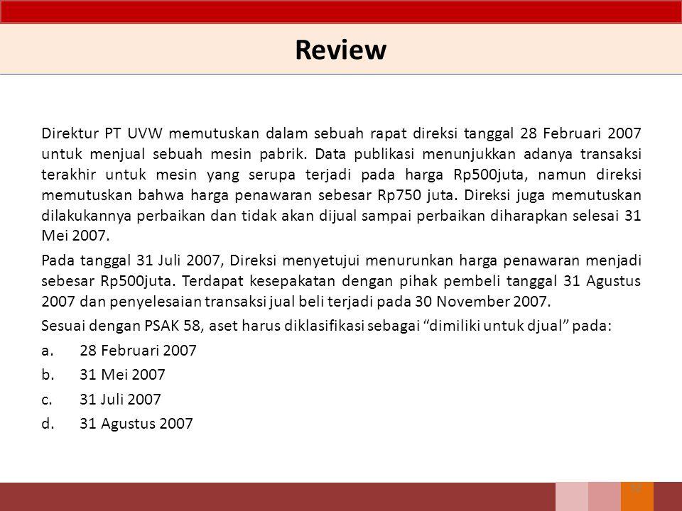 32 Direktur PT UVW memutuskan dalam sebuah rapat direksi tanggal 28 Februari 2007 untuk menjual sebuah mesin pabrik.