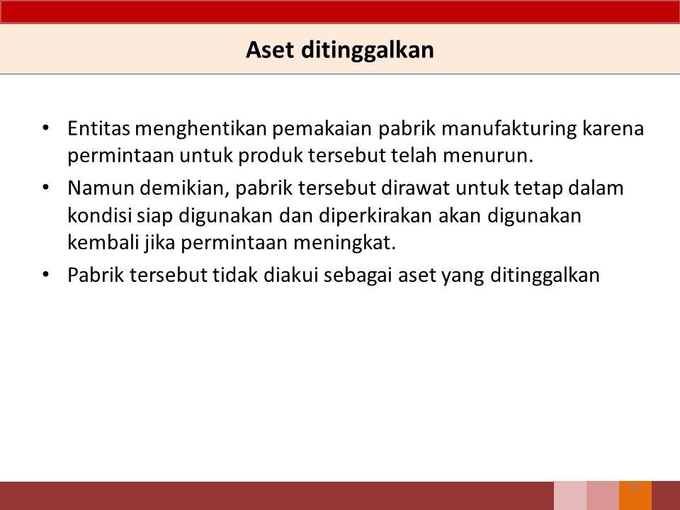 Aset ditinggalkan 39 Entitas menghentikan pemakaian pabrik manufakturing karena permintaan untuk produk tersebut telah menurun.