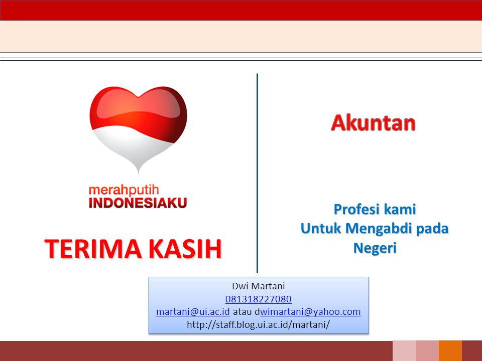 TERIMA KASIH Profesi kami Untuk Mengabdi pada Negeri Dwi Martani 081318227080 martani@ui.ac.idmartani@ui.ac.id atau dwimartani@yahoo.comwimartani@yahoo.com http://staff.blog.ui.ac.id/martani/ Dwi Martani 081318227080 martani@ui.ac.idmartani@ui.ac.id atau dwimartani@yahoo.comwimartani@yahoo.com http://staff.blog.ui.ac.id/martani/