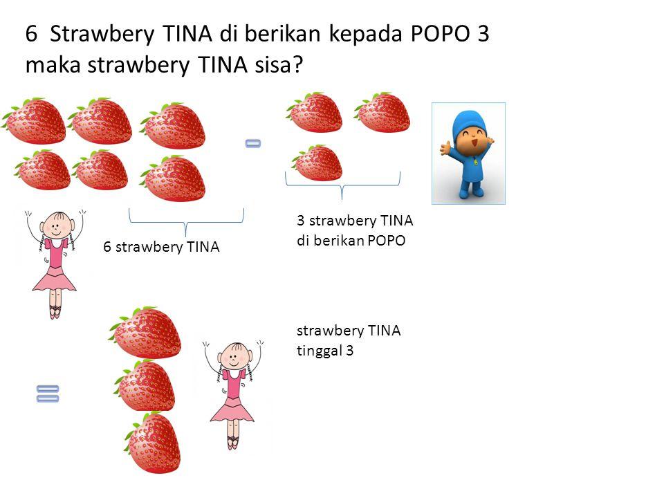 6 Strawbery TINA di berikan kepada POPO 3 maka strawbery TINA sisa? 6 strawbery TINA 3 strawbery TINA di berikan POPO strawbery TINA tinggal 3
