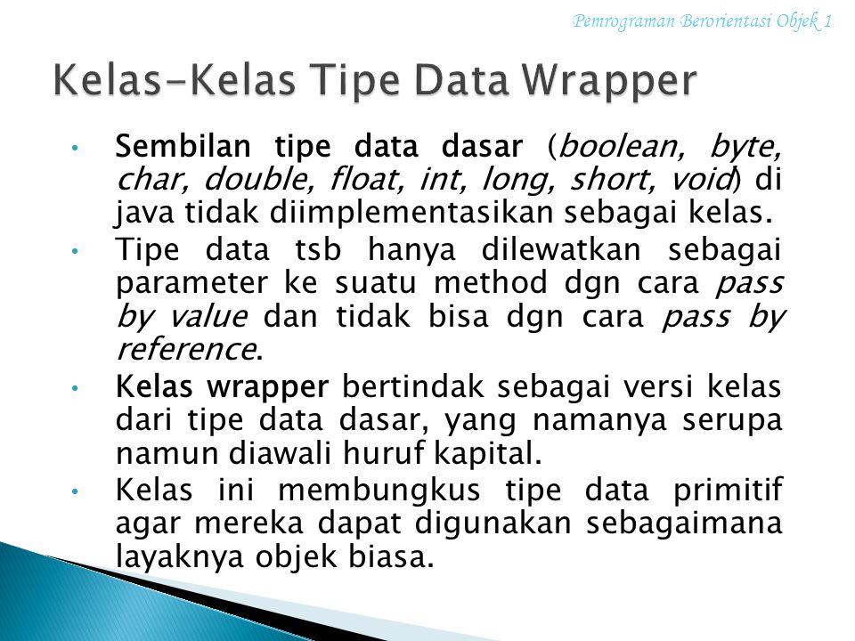 Sembilan tipe data dasar (boolean, byte, char, double, float, int, long, short, void) di java tidak diimplementasikan sebagai kelas. Tipe data tsb han