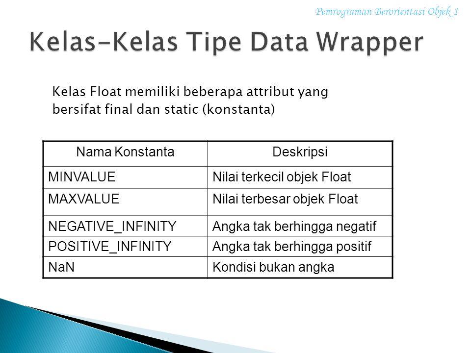 Kelas Float memiliki beberapa attribut yang bersifat final dan static (konstanta) Nama KonstantaDeskripsi MINVALUENilai terkecil objek Float MAXVALUEN