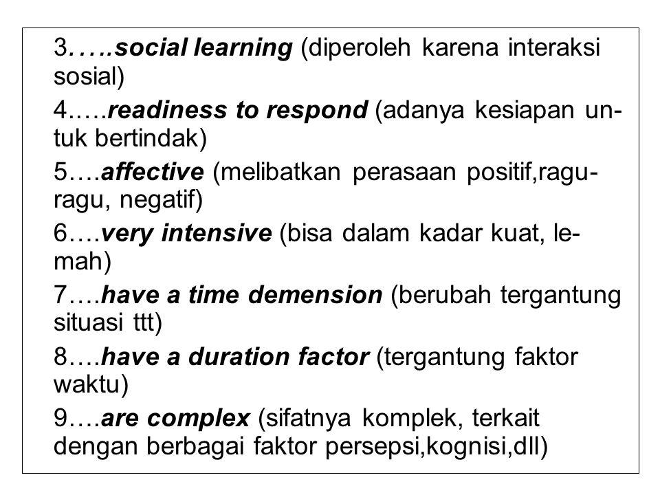 10…..are evaluations (ada penilaian dari responden) 11…..are inferred (ada indikatornya)  JADI,ciri-ciri dari Sikap 1.Merupakan evaluasi seseorang tentang suatu obyek, kejadian,situasi yg memiliki 2 kutub yg bertolak belakang – Like>< Dislike –Pro>< Kontra –Positif>< Negatif –Setuju>< Tidak Setuju Misal : Setujukah Anda dengan penerapan Hukuman Mati di Indonesia .