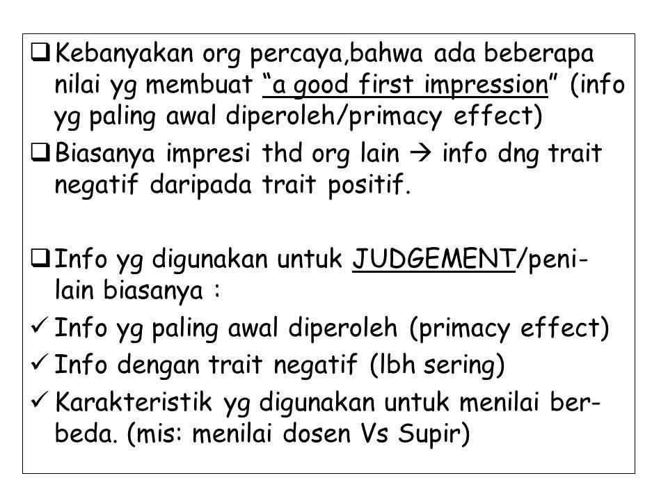 """ Kebanyakan org percaya,bahwa ada beberapa nilai yg membuat """"a good first impression"""" (info yg paling awal diperoleh/primacy effect)  Biasanya impre"""