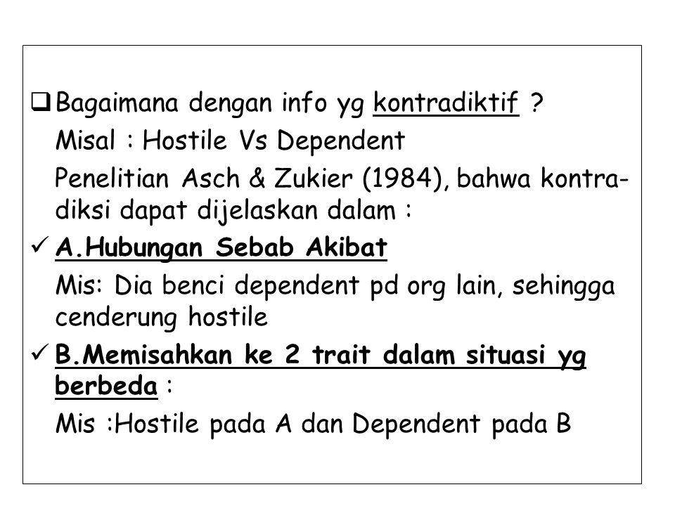  Bagaimana dengan info yg kontradiktif ? Misal : Hostile Vs Dependent Penelitian Asch & Zukier (1984), bahwa kontra- diksi dapat dijelaskan dalam : A