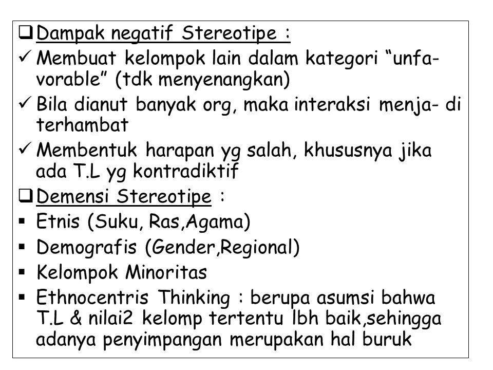 """ Dampak negatif Stereotipe : Membuat kelompok lain dalam kategori """"unfa- vorable"""" (tdk menyenangkan) Bila dianut banyak org, maka interaksi menja- di"""