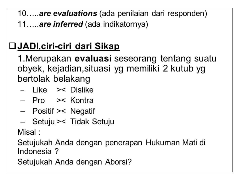 10…..are evaluations (ada penilaian dari responden) 11…..are inferred (ada indikatornya)  JADI,ciri-ciri dari Sikap 1.Merupakan evaluasi seseorang te