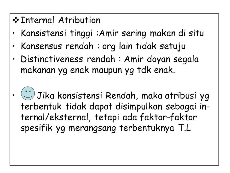  Internal Atribution Konsistensi tinggi :Amir sering makan di situ Konsensus rendah : org lain tidak setuju Distinctiveness rendah : Amir doyan segal