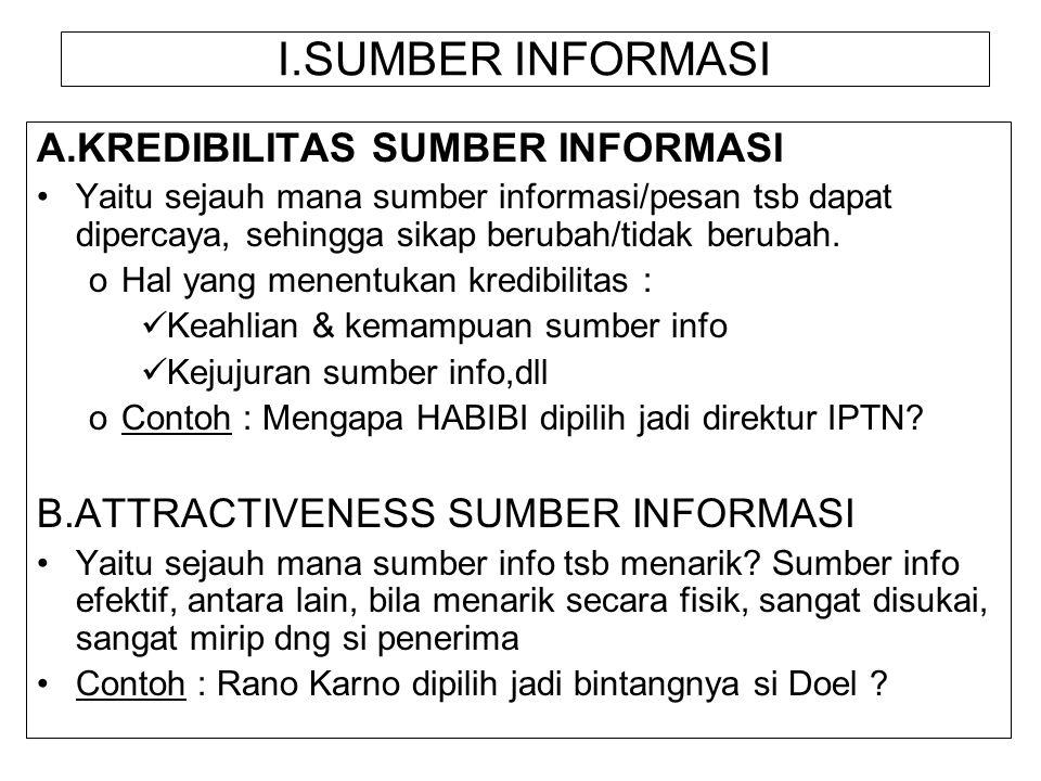 I.SUMBER INFORMASI A.KREDIBILITAS SUMBER INFORMASI Yaitu sejauh mana sumber informasi/pesan tsb dapat dipercaya, sehingga sikap berubah/tidak berubah.