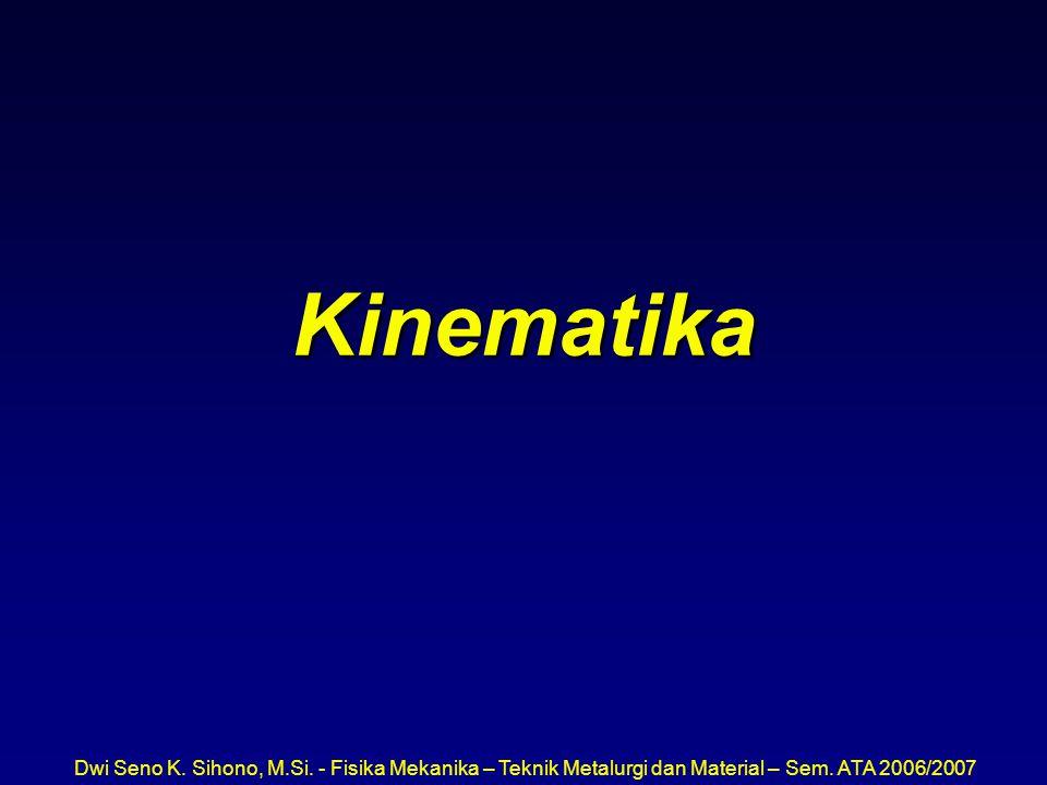 Dwi Seno K. Sihono, M.Si. - Fisika Mekanika – Teknik Metalurgi dan Material – Sem. ATA 2006/2007 Kinematika