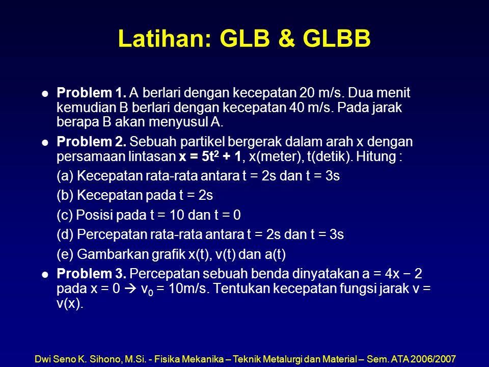 Dwi Seno K. Sihono, M.Si. - Fisika Mekanika – Teknik Metalurgi dan Material – Sem. ATA 2006/2007 Latihan: GLB & GLBB l Problem 1. A berlari dengan kec